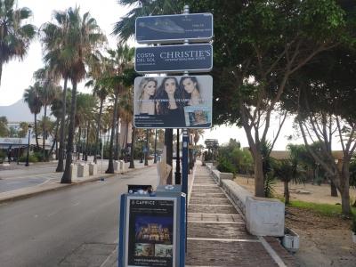 Poste publicitario de 150x100 cm en Marbella, Málaga