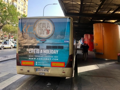 Autobus publicitario de Trasera Integral + Laterales en Málaga, Málaga