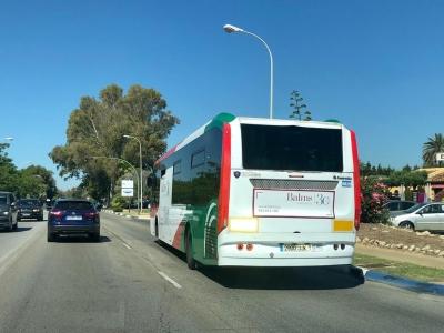 Autobus publicitario de Gran Lateral Plus en Málaga, Málaga