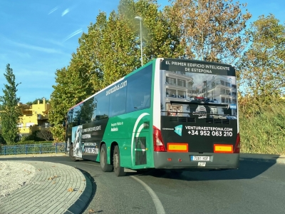 Autobus publicitario de Gran lateral + Simple en Fuengirola, Málaga